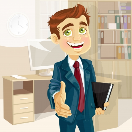 confidant: Business man in office with speech bubble gives his hand to greet  Illustration