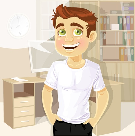 confidant: Business man in office shows a T-shirt under print