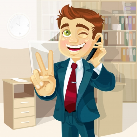 makes: Business man in office talking on the phone and makes the sign of peace