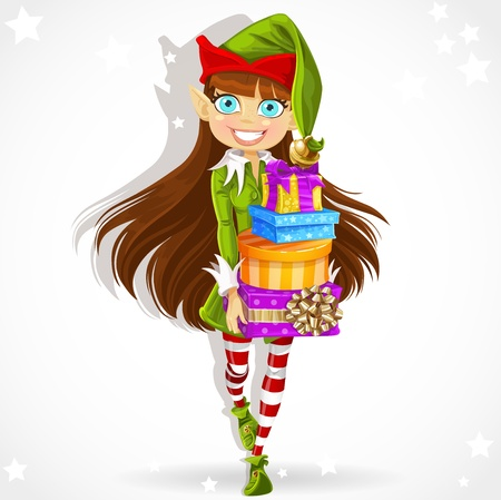 Cute girl the New Year s elf Santa s assistant gives gifts  Vector