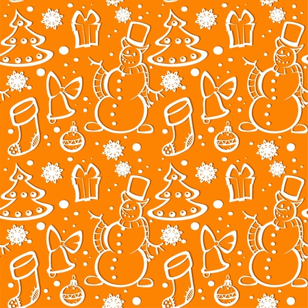 Seamless New Year s ornament from applications a snowman, Christmas tree, gift, snowflakes  Vector