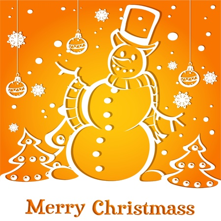 Merry Christmas applique card with snowman and Christmas tree Vector