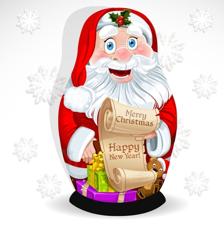 Doll Matrioshka Santa Claus with gifts and congratulations with Christmas Vector