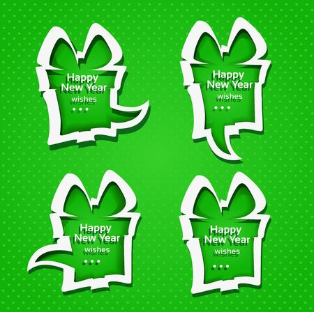 Christmas applique speech bubbles with Happy New Year wishes on green background Stock Vector - 16435256