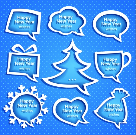 speech buble: Christmas speech bubles set various shapes on blue background with New Year Greetings