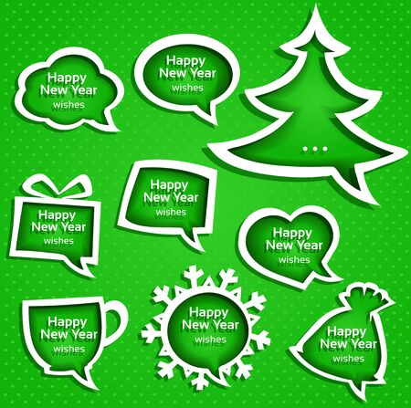 speech buble: Christmas speech bubles set various shapes on green background with New Year Greetings Illustration