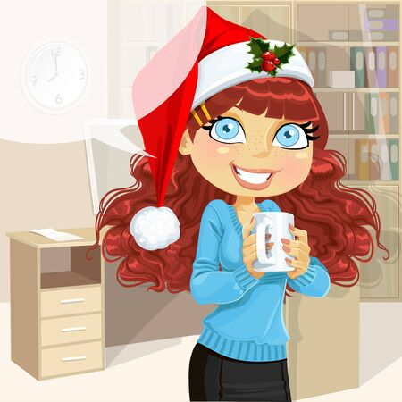 Business woman in Christmas morning office hold cup of hot drinc Stock Vector - 16435265