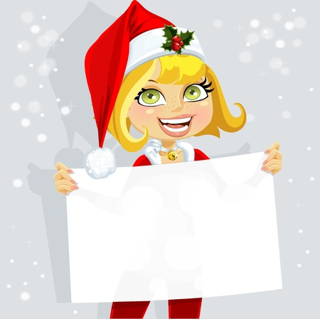 santa suit: Cute girl in Santa suit hold blank seductive banner for your text Illustration