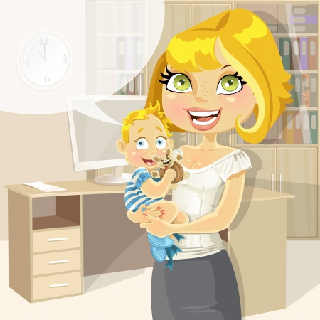 Pretty business mom with baby boy in office Stock Vector - 16435247