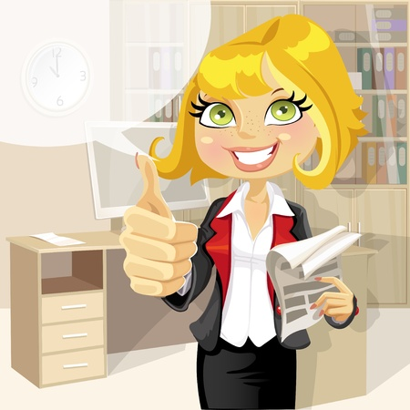 Pretty business woman in office with business papers showing that everything is OK Stock Vector - 16435285