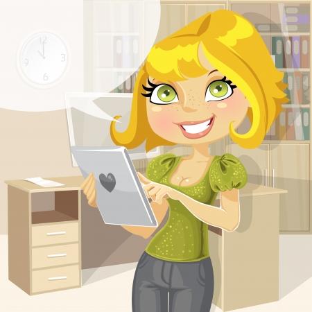 vrouw met tablet: Mooie zakenvrouw in het kantoor met tabletcomputer.