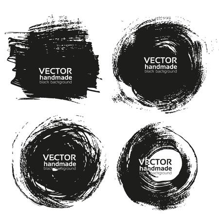 bordure de page: Vecteur de belles courses à la main noirs-fonds peints au pinceau Illustration