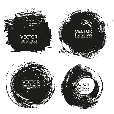 Vector beautiful handmade black strokes- backgrounds painted by brush Vector