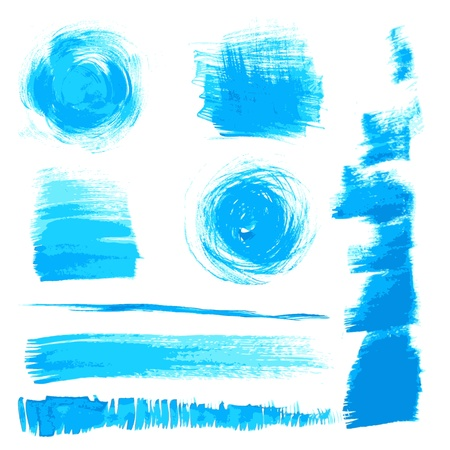 Vector beautiful handmade blue strokes painted by brush Stock Vector - 16435200