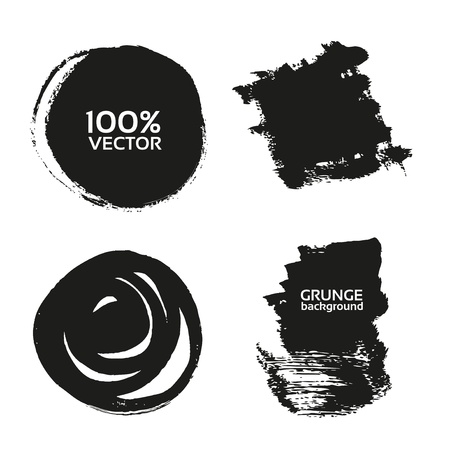 Vector grunge handmade black strokes- backgrounds painted by brush Stock Vector - 16435280