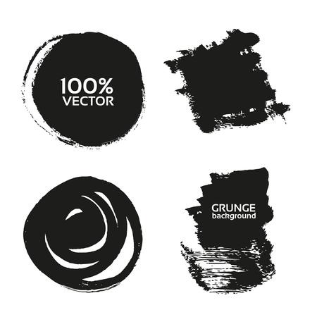 Vector grunge handmade black strokes- backgrounds painted by brush Illustration