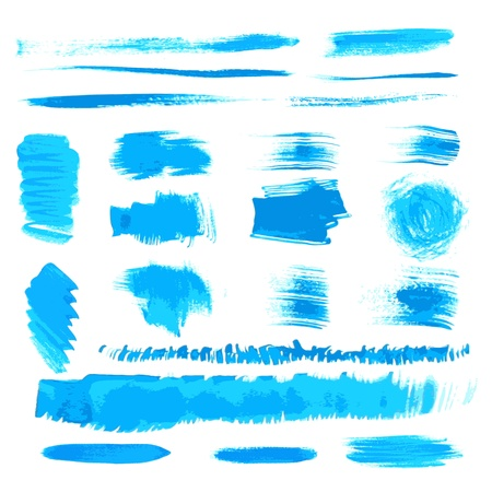 Vector handmade blue strokes set painted by brush  Vector