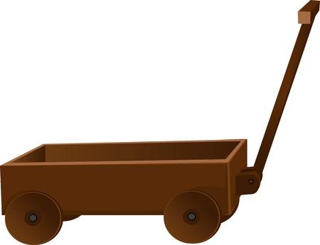 carreta madera: camión de madera clásico para los juguetes Vectores