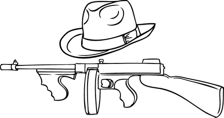 gangster set - automatic Thompson and Theodore hat