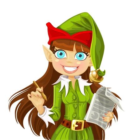 Lindo Navidad Elf con la pluma lista para grabar deseos aisladas sobre fondo blanco