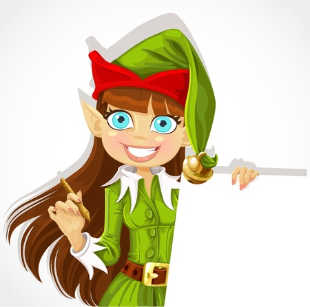 mythical festive: Cute christmas Elf with pen ready to record wishes with banner Illustration