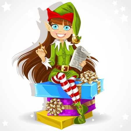 elf cartoon: New Year s elf Santa s assistant ready to record wishes