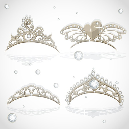 princesa: Luminoso tiaras chicas de oro con diamantes en el set aro Vectores
