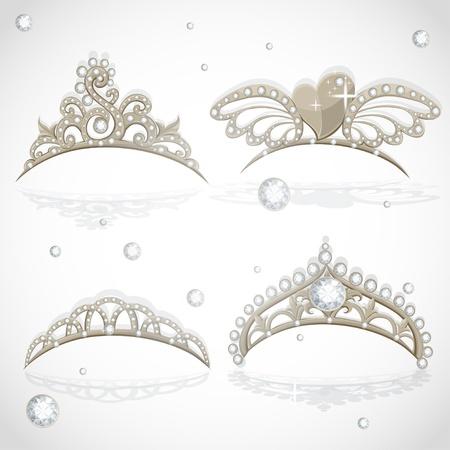 corona reina: Luminoso tiaras chicas de oro con diamantes en el set aro Vectores
