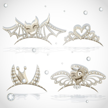 object complement: Tiaras with hearts for carnival costume to the angel and the devil