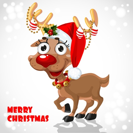 Cute Santa Reindeer with christmas decorations  Ilustracja
