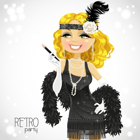 flapper: Blond woman with mouthpiece on white Retro party card Illustration