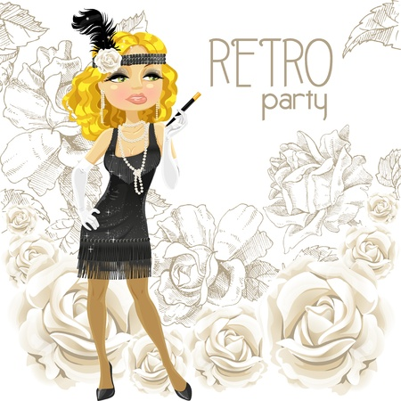 Cute blond woman with mouthpiece on Retro party card Stock Vector - 16683391