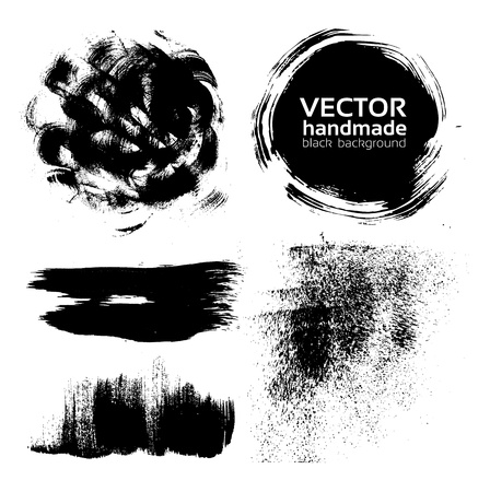 handmade brush strokes set painted by ink Stock Vector - 16683387
