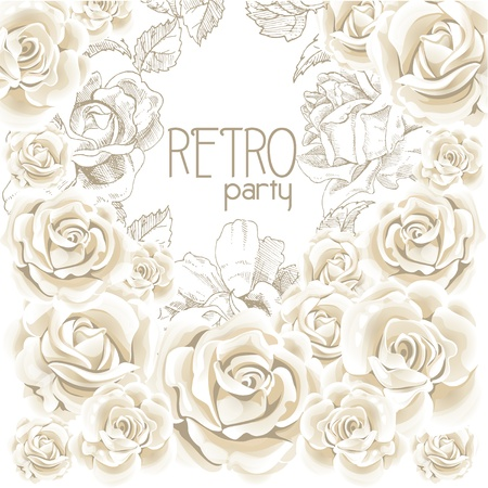 Retro party white flowers background Stock Vector - 16683383