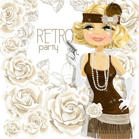 flapper: Hermosa chica con la pistola invita a una fiesta de un retro