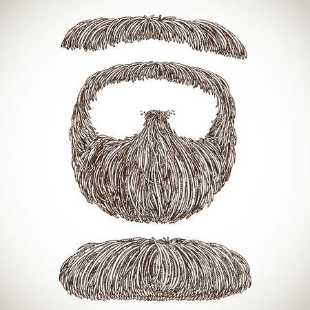sideburn: Lush retro mustache and beard Illustration