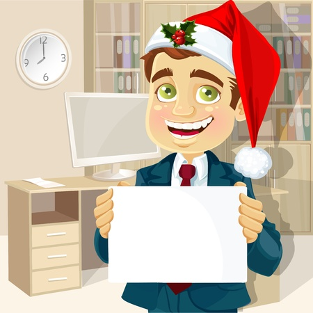 businessman in a cap of Santa Claus and with blank poster for your text welcomes happy New Year Vector