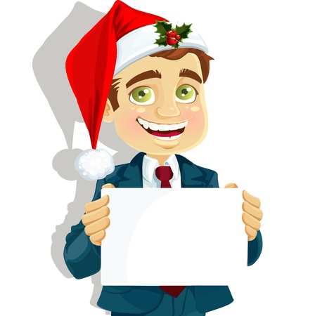 one man only: businessman in a cap of Santa Claus and with blank poster for your text Illustration