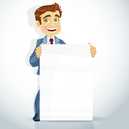 good looking man: cute businessman show big poster for presentation
