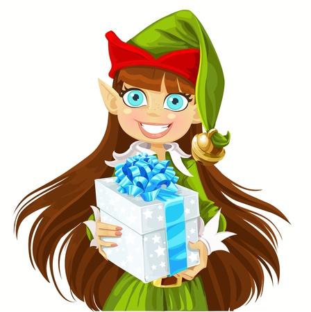 santa helper: Cute girl Elf give christmas gift