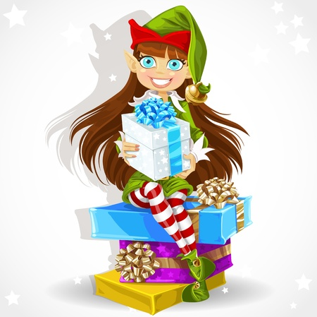 Cute girl the New Year s elf Santa s assistant give a Christmas gift Illustration