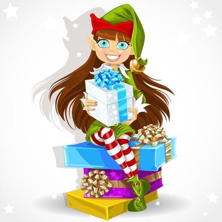 helpers: La muchacha linda del A�o Nuevo asistente s elf Santa s dar un regalo de Navidad Vectores