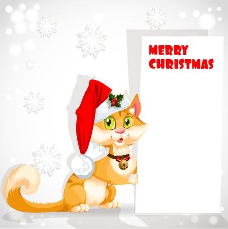 congratulating: Cute cat in Santa s hat holding a banner congratulating