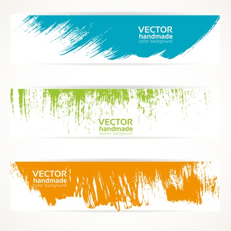 Color vector handmade abstract brush strokes banners Vector