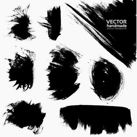 Abstracte kleur vector banner set tekenen door penseel en inkt Stock Illustratie