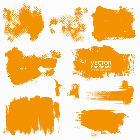 paint splatter: Abstract orange vector set backgrounds draw by brush and ink