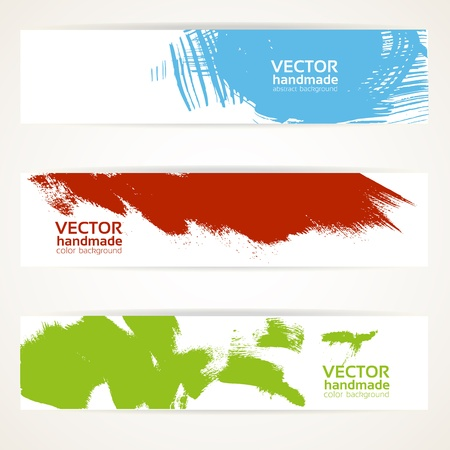 Abstract color vector handdrawn by brush banner set Stock Vector - 16761487