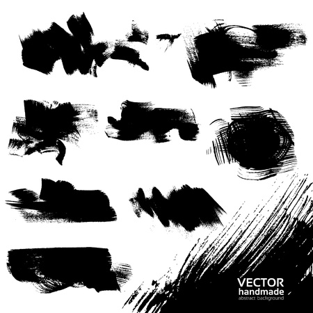and sumi: Abstract black vector backgrounds set textured draw by brush and ink