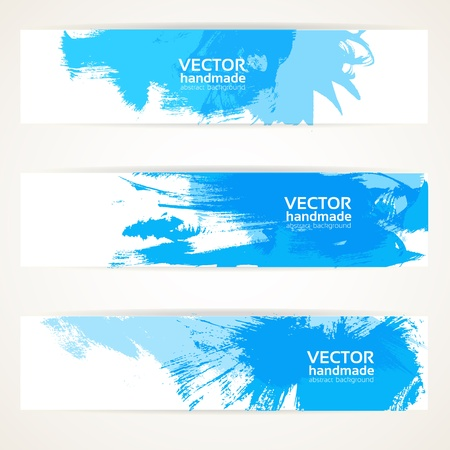 paint drips: Abstract blue handdrawing banner set Illustration