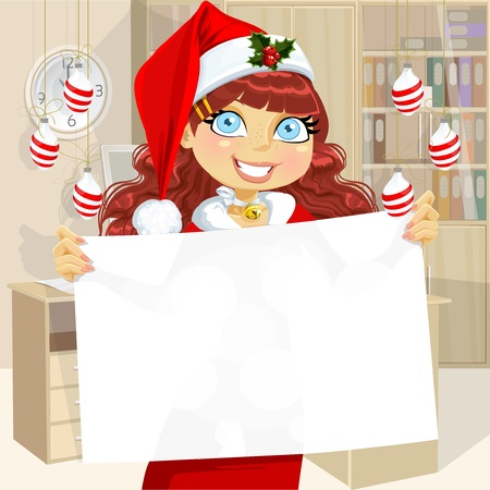 Cute business girl in Santa cap hold blank banner for your text  Stock Vector - 16801268